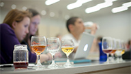 students taste different beers in class