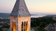 McGraw Tower and view of Cayuga Lake in the distance