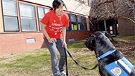 student trains a service dog