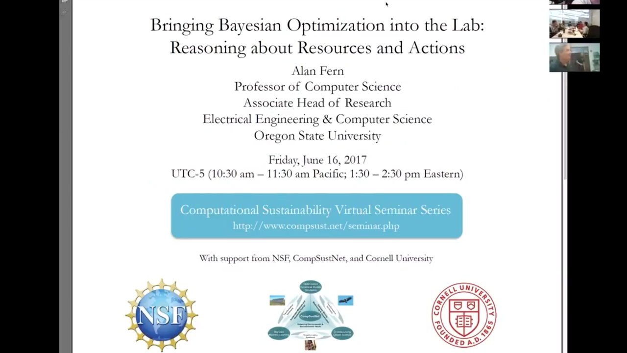 'Bringing Bayesian Optimization into the Lab: Reasoning about Resources and  Actions' by Alan Fern - CornellCast