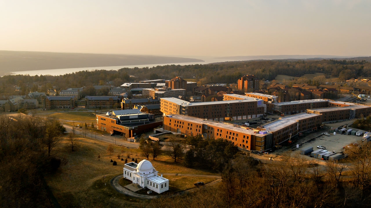 An aerial view of North Campus and Cayuga Lake.
