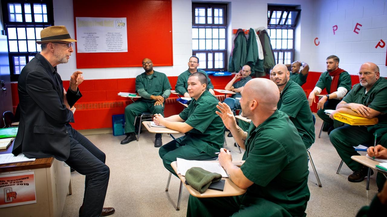 Professor Joe Margulies interacts with his students at Cayuga Correctional Facility in Moravia, New York.