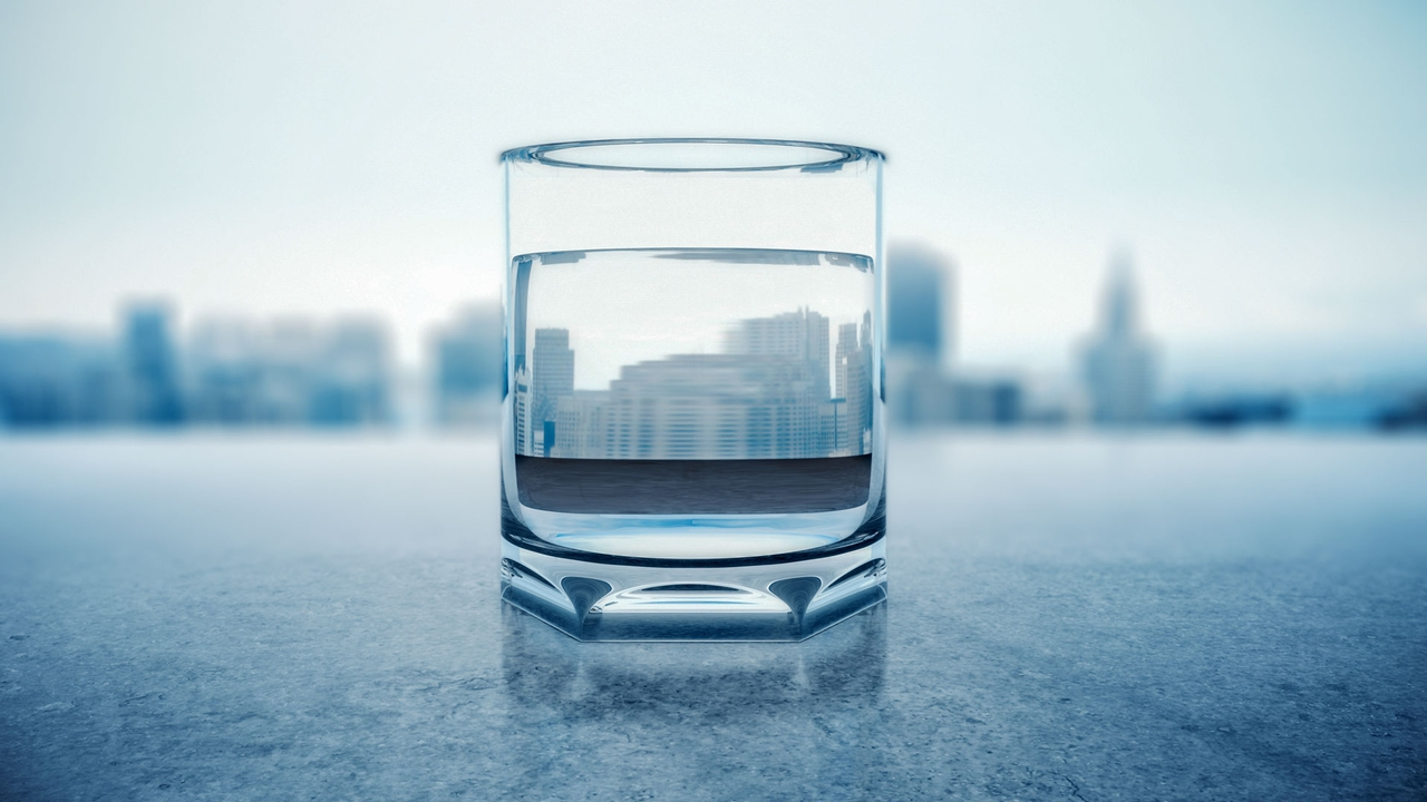 A clear glass of water.