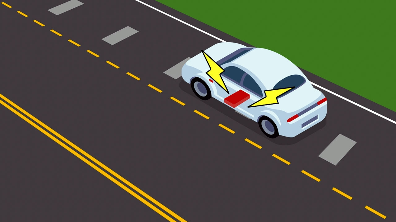 An illustration of an electric car on the road.