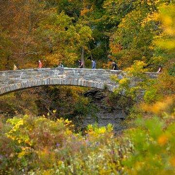 Students walk across the bridge on Beebe Lake at Cornell University