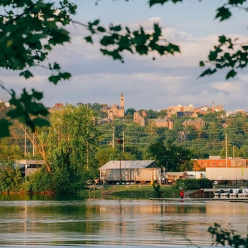 A glimpse of campus from Cayuga Waterfront Trail.