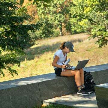 Cornell student works on her laptop at the Sesquicentennial Grove