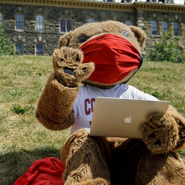 Touchdown wears a mask while working on the slope at Cornell University