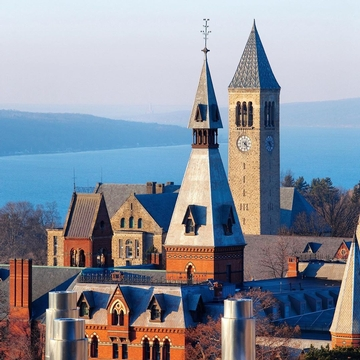 Sage Chapel and McGraw Tower with Cayuga Lake in the background