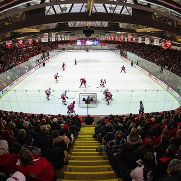 A packed house! Lynah Rink was sold out for tonight's hockey game against rival Harvard.