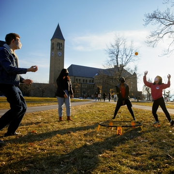 Students play games on the Arts Quad