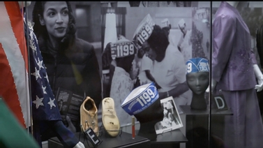 artifacts worn by Alexandria Ocasio-Cortez and Coretta Scott King, along with photos of them