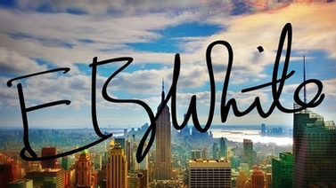 E.B. White signature overlaid on photo of New York City skyline