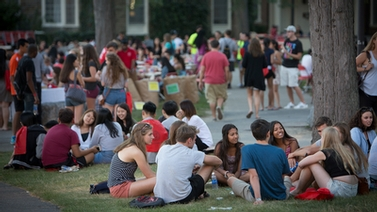 students sitting together on the Arts Quad