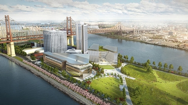 rendering shows the view of the future Roosevelt Island campus from the southwest