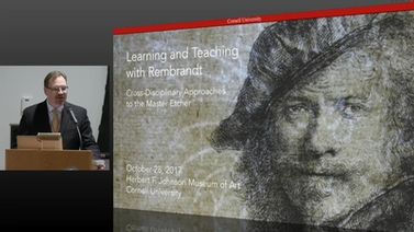title slide shows portrait of Rembrandt with symposium title 'Learning and Teaching with Rembrandt'