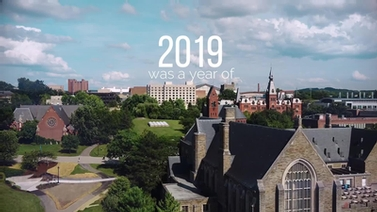 aerial photo of campus with text '2019 was a year of'