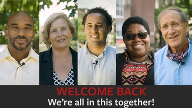 composite image of Ithaca-area leaders says 'Welcome back. We're all in this together!'