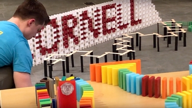 Chris Wright works on his Cornell-themed domino build