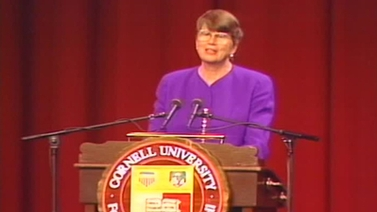 Janet Reno at the podium in Barton Hall, 1994