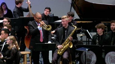 Wynton Marsalis performs with the Cornell University jazz band