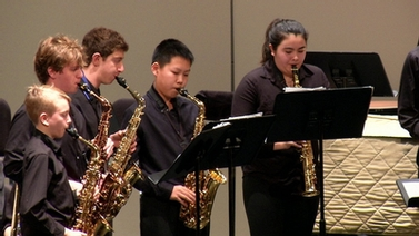 members of the Ithaca High School Wind Ensemble