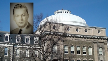 Portrait of David C. Fairbanks with Sibley Hall in the background
