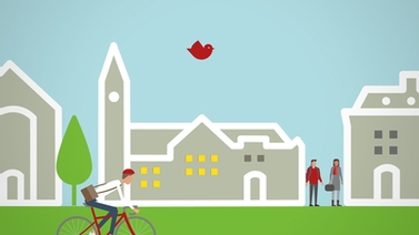 illustration of Cornell buildings with a bicyclist and red bird flying overhead