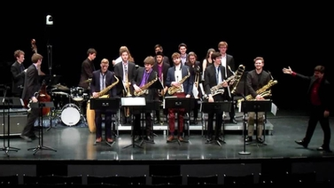 jazz band members on stage
