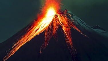 lava erupts from a volcano
