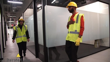 device helps employees maintain physical distancing in corridors