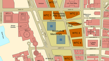 World Trade Center building arrangement in preliminary site plan