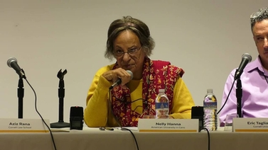 Nelly Hanna participates in a panel discussion