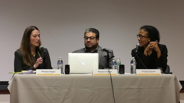Bassam Haddad, Chantal Thomas and Rebekah Maggor participate in a panel discussion