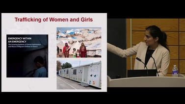 presenter speaks about trafficking of women and girls