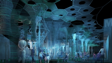 rendering of the Lumen canopy at night