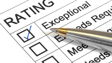 rating scale showing 'exceptional' checked off