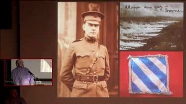 presentation shows old photos and artifacts