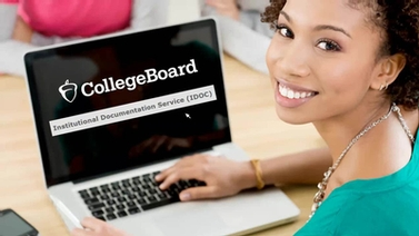 College Board website displayed on a laptop screen