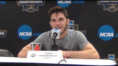 Yianni Diakomihalis takes questions from the press