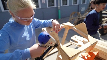 student building dragon frame