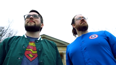 Ryan Hearn and Jospeh Rhyne in superhero shirts
