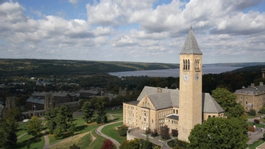view of McGraw Tower with Cayuga Lake in the distance