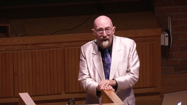 Kip Thorne at the podium in Schwartz Auditorium