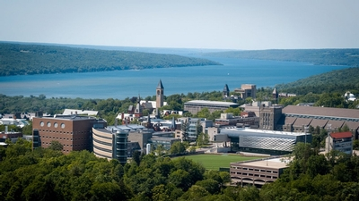 Cayuga Lake stretches out beyond Cornell's campus