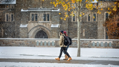 Campus during a December snowfall