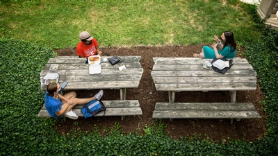 Students eat lunch in the Balch Hall courtyard at Cornell University