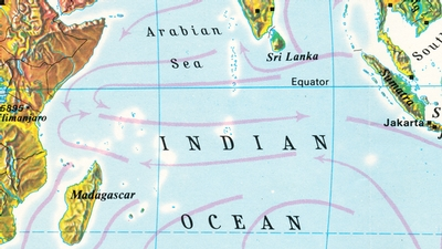 A map showing the sea currents in the Indian Ocean