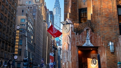 Cornell flag on New York City street