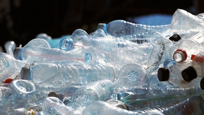 empty plastic bottles being recycled